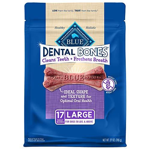 Blue Buffalo Dental Bones Large Natural Dental Chew Dog Treats, (50 lbs and up) 27-oz Bag Value Pack