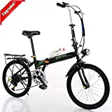 Folding Bike for Adults Men and Women 7 Speed Lightweight Mini Folding Bike with V Brake (Upgraded)