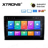 XTRONS 10.1' Android 8.1 32GB ROM + 2GB DDR3 RAM Octa-Core Rotatable Face Panel 2.5D Curved Screen Car Stereo & Universal Single Din Stereo Fitting Cage