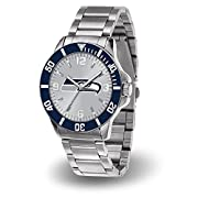 This striking watch is perfect for the serious fan Officially licensed team logo and colors Scratch-resistant mineral crystal lens Accent color bezel Silver dial with team logo color