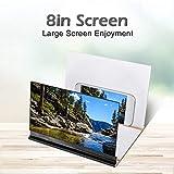 ASHATA Agrandisseur d'Écran Smartphone, 8 Pouces Écran Loupe 3D Amplificateur d'écran Screen Magnifier pour Intérieur, Camping, Tourisme(Noir)