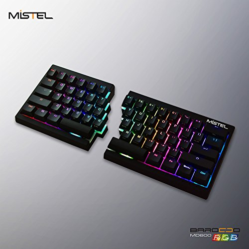Mistel Barocco Ergonomic Split PBT RGB Mechanical Keyboard with Cherry MX Black Switches, Black