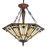 Maxxmore Tiffany Hanging Lamp W22 H81 Inch 3 Light Large Stained Glass Pendant Light Fixtures for Living Dining Room Foyer