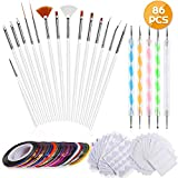 Anezus Nail Art Brushes Nail Art Painting Polish Design Tools Set with 15Pcs Nail Gel Brushes, 5Pcs Nail Dotting Pen, 30 Colors Nail Striping Tape and 36 Sheets Nail Stencils French Tip Guides Sticker