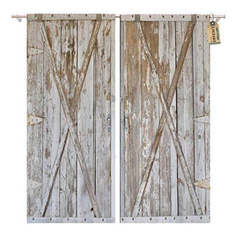 Golee Window Curtain White Distressed Wood Barn Door Panels Farm Gate Wooden Home Decor Pocket Drapes 2 Panels Curtain 104 x 96 inches