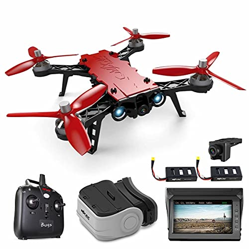 XIAOKEKE B8 Drone da Competizione 2.4G FPV, con Fotocamera HD 720P, Quadricottero Resistente al Vento Ad Alta velocit, con Occhiali FPV VR, Schermo di Ricezione da 4,3 Pollici (2 Batterie),Rosso
