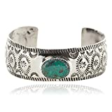 $90Tag Nickel Navajo Certified Natural Turquoise Native American Bracelet 13026-5 Made By Loma Siiva