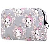 Neceser con cremallera, bolsa de maquillaje reutilizable de gran capacidad, bolsa de viaje para cosméticos con conejo con corona de lazo rosa para adolescentes y mujeres