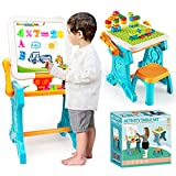 Toddler Activity Table, Kids Easel for Magnetic Drawing, Building, Learning Toys