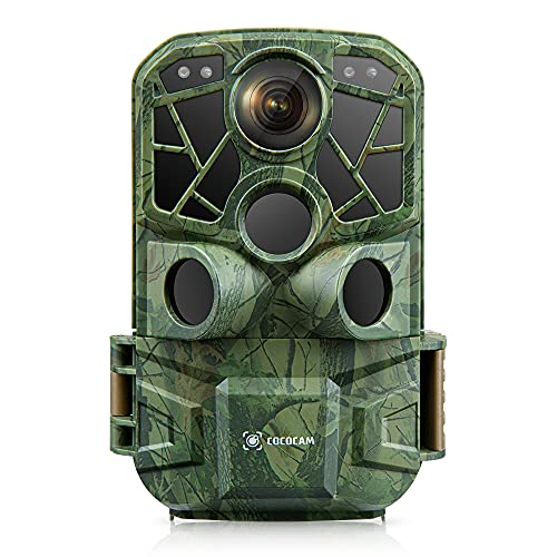 Cococam WiFi Bluetooth Caméra de Chasse 4K 24MP Vision Nocturne Infrarouge 3pcs Capteurs PIR 34pcs LEDs Déclencheur 0,2S Angle de Détection 120 ° IP66 Étanche Caméra pour Animaux Sauvages sans Fil