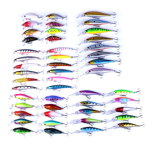 HULEN 48pcs Fishing Lure Set Fishing Gear Rock Mino Set Esche da Pesca Finte