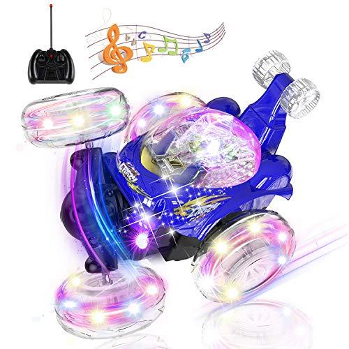 UTTORA Ferngesteuertes Auto Lastwagen, Kinderspielzeug für Jungen Mädchen, Dual Modi 360° Drehbarer Stunt Rennwagen LED-Lichter, USB-Kabel, Kontrollierte Schaltermusik ,Geschenk für Jungen Mädchen