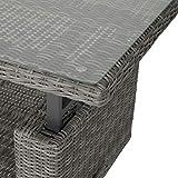 greemotion Tisch Bari, höhenverstellbarer Couchtisch, Beistelltisch aus Rattan-Geflecht mit Glas-Tischplatte, Sofatisch ca. 130 x 49/68 x 75 cm - 3