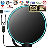 [Upgraded 2020] Amplified HD Digital TV Antenna Long 180+ Miles Range - Support 4K 1080p Fire tv Stick and All Older TV's Indoor Powerful HDTV Amplifier Signal Booster - 18ft Coax Cable/AC Adapter