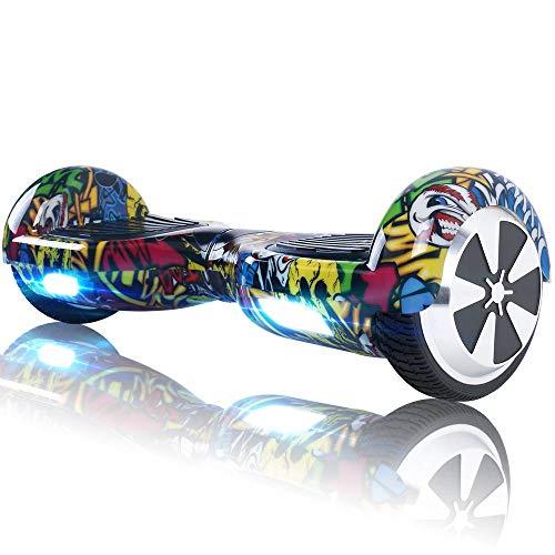 Hoverboard Bluetooth - Enfant Super Cadeau, 6.5' Overboard Tout Terrain Adulte Balance Board, Pas Cher LED Skateboard, Challenger Gyropode (Hiphop)
