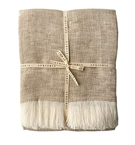 Aprioria, coperta in 100% lino, con frange fatte a mano, per yoga, meditazione, divano, divano, morbido, lussuoso, accogliente, leggera, di alta qualit, naturale, sostenibile, ecologico, beige