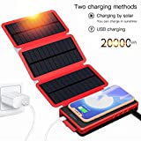 POWOBEST Solar Charger,Solar Power Bank 20000mAh Portable Waterproof Camping Gear Wireless Solar Phone Charger,Solar Battery Pack,Outdoor Power Bank with Led Light Flashlight