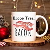 bacon themed gifts, funny food gift, bacon gift for women and men, cute bacon gift idea, Bacon Lover Gifts, bacon mug