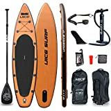 UICE11'x33 x6 Classic Black Wood Inflatable Stand Up Paddle Board, Premium Quality Big Board for Fishing, Yoga, Kayak and Surfing Including All Accessories