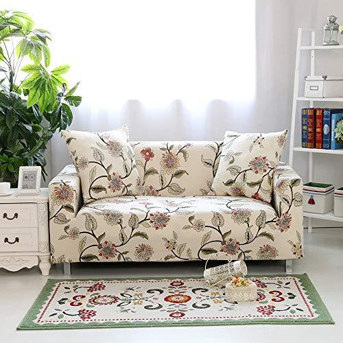 HYSENM fodera per divano 1/2/3/4 posti fodera per divano motivo floreale elasticizzato morbido elasticizzato, 3 posti 190-230cm Fiore Ondeggiante