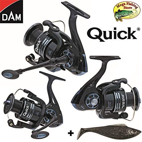Dam Quick Fighter PRO Metal - Mulinello da Pesca, Misura da 2000 a 6000, con Bobina di Ricambio e Portafortuna, Nero, 2000er / 320 FD - 240m  0,20mm