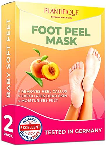 Maschera Piedi Esfoliante - Foot Peel Mask Dermatologicamente Testata, Efficace Peeling Piedi, Scrub Piedi e rimozione Calli dei Piedi - Foot Mask alla pesca confezione da 2 by Plantifique