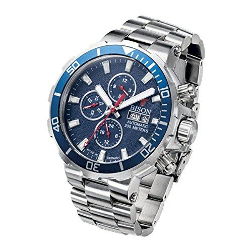 Bison Herren Uhr Armbanduhr Automatik Bison No. 1 BI0001BLMB