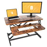 FEZIBO Height Adjustable Standing Converter, 32 inches Desk Riser, Sit Stand Desk Ergonomic Tabletop Workstation Rustic Brown