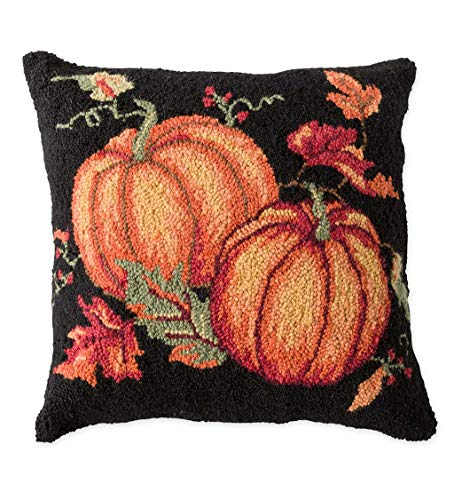 Plow & Hearth Hand-Hooked Wool Fall Pumpkins and Leaves...