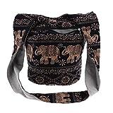 SM SunniMix Thai Hobo Crossbody Bag Bolso de Hombro Messenger Bag Hippie Boho Bohemian Purse - Negro