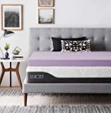 LUCID 4 Inch Lavender Infused Memory Foam Mattress Topper - Ventilated Design - Twin Size