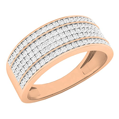 Dazzlingrock Collection 0.40 Carat (ctw) 10K Round White Diamond Mens Anniversary Wedding Band, Rose Gold, Size 6