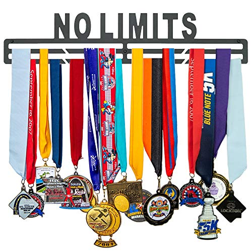 FitGoalz Medal Holder Hanger Display - Wall Mount - Great Gifts for Runners, Gymnastics, and Sports Medals – No Limits