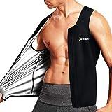 Junlan Gilet Zippé de Sudation pour Homme Fitness Body Gainant pour Perdre du Poids Débardeur Minceur T-Shirt Sauna (Noir, Large)