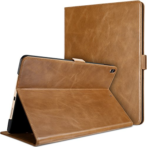ProCase iPad Air (3rd Gen) 10.5 2019 / iPad Pro 10.5 2017 Case, Vintage Genuine Leather Case Slim Fit Stand Folio Cover, with Multiple Viewing Angles, Auto Sleep/Wake Feature Brown