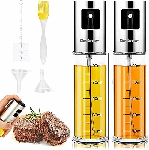 Pulverizador Aceite, 2PCS Actualizado Rociador de Vinagre, 100ml Spray Aceite Cocina Dispensador de Aceite de Oliva para Cocinar,Ensalada,Hornear,Pan,BBQ
