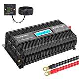 Power Inverter 2000w DC 12V to AC 120V Modified Sine Wave Inverter with LCD Display Remote Control and 3AC Outlets Dual 2.4A USB Ports for Car RV Truck Boat[3 Years Warranty] by VOLTWORKS