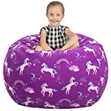 Aubliss Stuffed Animal Storage Bean Bag Chair Cover Only for Plush Toys, Blankets, X-Large 48'-Canvas Unicorn Purple