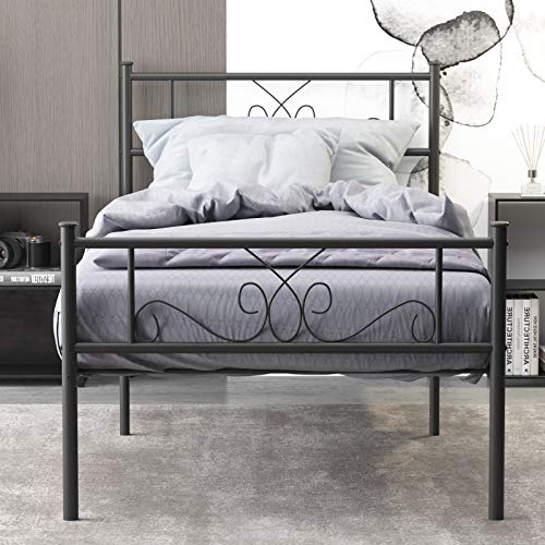 WeeHom 12.7 Inches Metal Platform Bed Frame/Sturdy Strong Steel Noise Free/None Slip Mattress Foundation/No Box Spring Needed/Platform Twin Size Bed Black