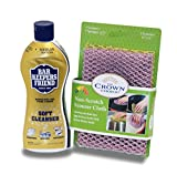 BAR KEEPERS FRIEND Soft Cleanser Liquid (13 OZ) and Non Scratch Scouring Scrubber Kit   Multipurpose, Stainless Steel, Rust, Soft Cleaner with Heavy Duty Non Scratch DishCloth