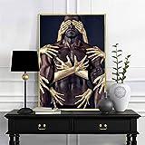 KAOLWY Image sur Toile Tableau Moderne Homme Noir Sexy Impression sur Toile Image Tableaux Murals Absorption Tableau Decoration Murale 50X70Cm Pas De Cadre