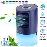 Climatiseur Portable Refroidisseur D'air Personnel Mini Climatiseur Mobile Silencieux 4 en 1 Ventilateur de Climatisation Air Humidificateur Purificateur pour Bureau Chambre, Air Cooler 3 Vitesses
