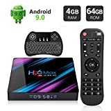 Android 9.0 TV Box, EstgoSZ H96 MAX 4GB 64GB Android Box USB3.0 BT4.0 Dual WiFi 2.4G 5G 3D 4K H.265 KD18.1 Smart Android TV Box with Mini Wireless Keyboard