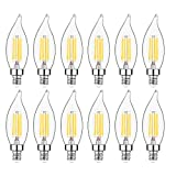 E12 Candelabra LED Bulbs Dimmable 60W Equivalent LED Chandelier Light Bulbs 4.5W Soft White 2700K 500LM B10 Flame Tip Vintage LED Filament Candle Bulb with Decorative Candelabra Base, 12 Packs