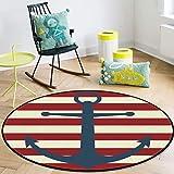 OneHoney Round Area Rugs, Vintage Nautical Anchor Red Striped Indoor Entryway Doormat Throw Runner Rug Floor Carpet Pad Yoga Mat for Living Room Bedroom 3Feet