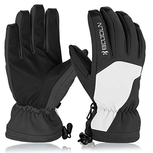 Hicool Skihandschuhe für Herren Damen Winter Sporthandschuhe Outdoor Thermo Handschuhe für Ski Snowboard Wandern Rad Motorrad (Weiß/Schwarz, M)