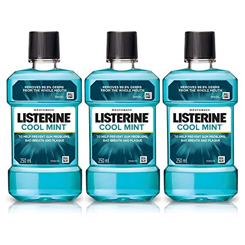 Listerine Cool Mint Mouthwash Liquid, Removes 99.9% Germs, 250ml Combo Pack of 3 (Buy 2 Get 1 Free)