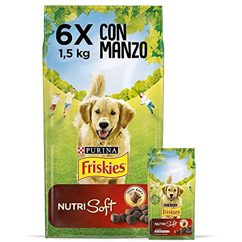 Purina Friskies Crocchette Cane Vitafit Nutri Soft con Manzo, 6 Sacchi da 1.5 kg Ciascuno, Confezione da 6 x 1.5 kg, Peso Totale 9 kg