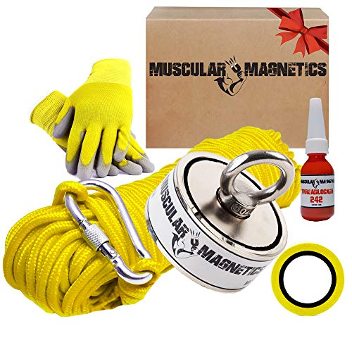 625lb Double Sided Fishing Magnet Bundle Pack - Includes 6mm 100ft...