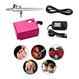 Airbrush Makeup Kit, Yenny shop Cosmetic Makeup Airbrush and Compressor System for Face, Nail, Temporary Tattoos, Cake Decorating and so on (Red)